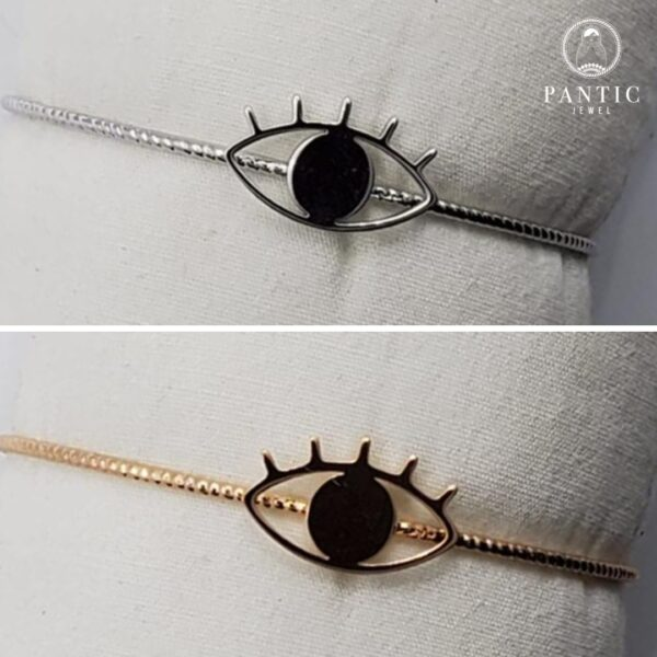 Bracelet Evil Eye Thin Gold or Silver Plated Cuff